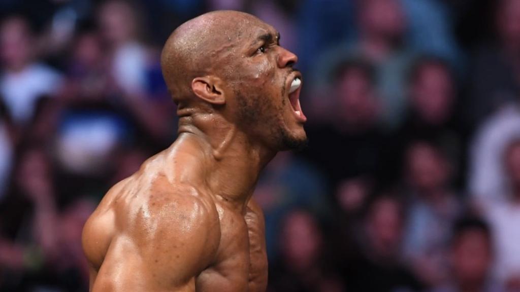 UFC welterweight Kamara Usman celebrates his win over Jorge Masvidal in the main event of UFC 261
