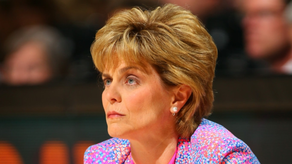 Former Baylor Bears women's basketball head coach Kim Mulkey looks on against the Stanford Cardinal during the national semifinal of the 2012 NCAA Women's Basketball Championship