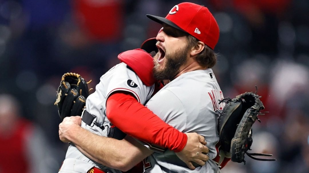 Cincinnati Reds pitcher Wade Miley celebrates his no-hitter against the Cleveland Indians