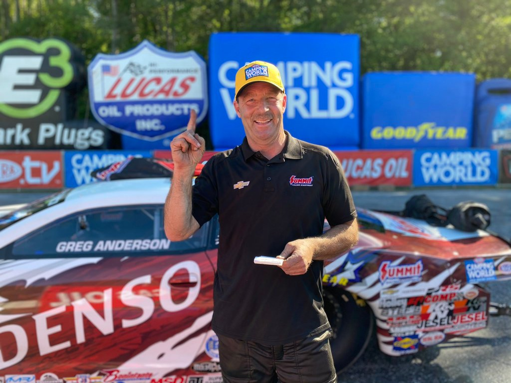 Denso and Summit Racing Equipment Pro Stock driver Greg Anderson celebrates the No. 1 qualifier at the Lucas Oil NHRA Southern Nationals