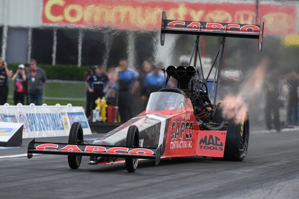 Capco Contractors Top Fuel Dragster pilot Steve Torrence competing at the Mopar Express Lane NHRA SpringNationals presented by Pennzoil