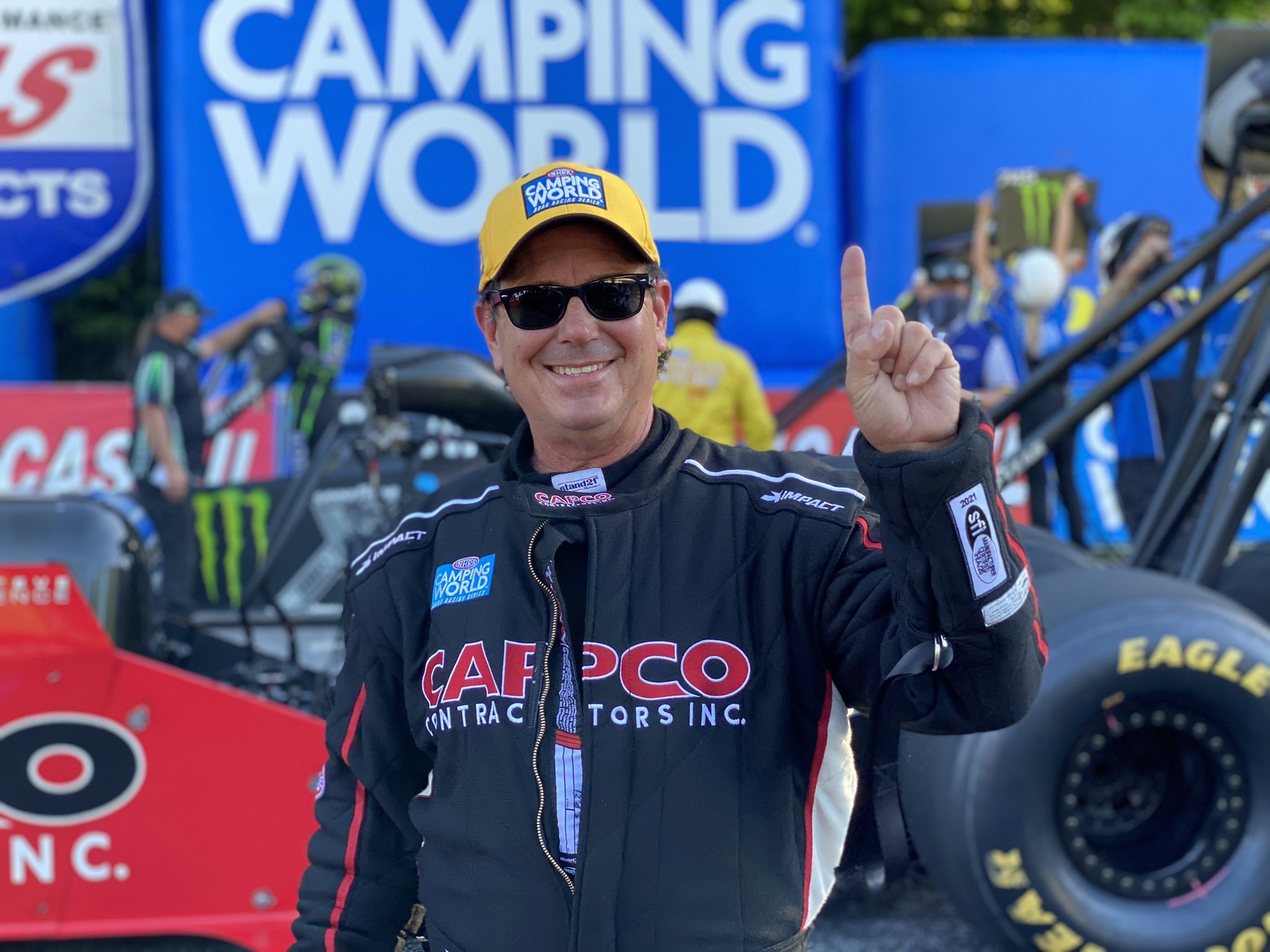 Capco Contractors Top Fuel Dragster pilot Billy Torrence celebrates his No. 1 qualifier at the final Lucas Oil NHRA Southern Nationals